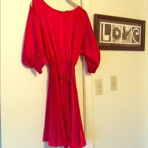 Dresses & Skirts - Red Satin dress, pleated skirt size large
